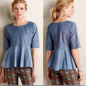 Adriano Goldschmied Chambray Peplum Top Small